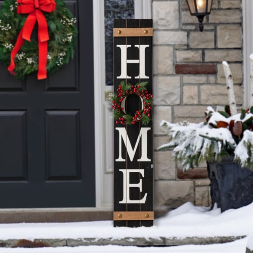 Glitzhome Wooden Home Porch Sign with Changeable Wreaths Perspective: bottom