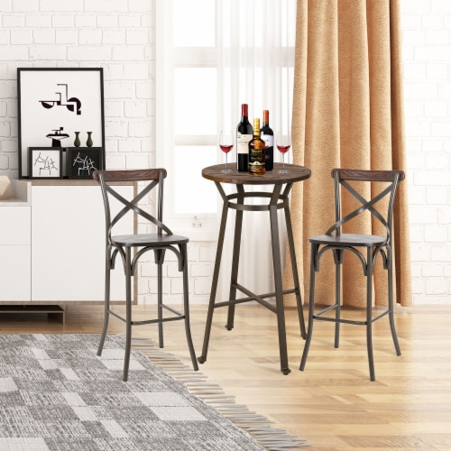 Glitzhome Rustic Steel Round Bar Table and Stools Set Perspective: bottom