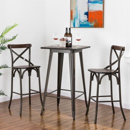 Glitzhome Rustic Steel Square Bar Table & Stools Set Perspective: bottom