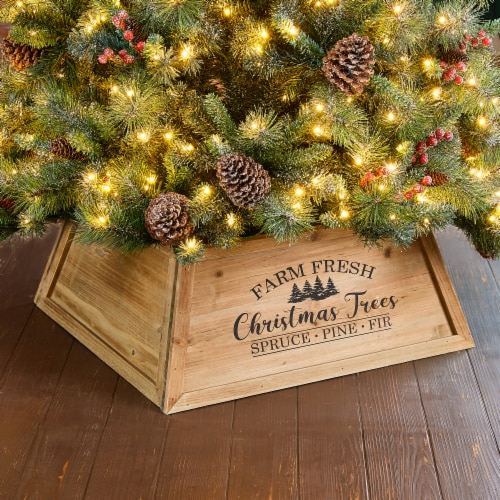 Glitzhome Wooden Trapezoid Farm Fresh Christmas Trees Tree Collar - Natural Perspective: bottom