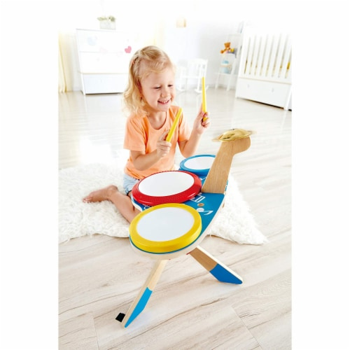 Hape Drum and Cymbal Instrument Play Set w/ 2 Drum Sticks for Kids Ages 3 and Up Perspective: bottom