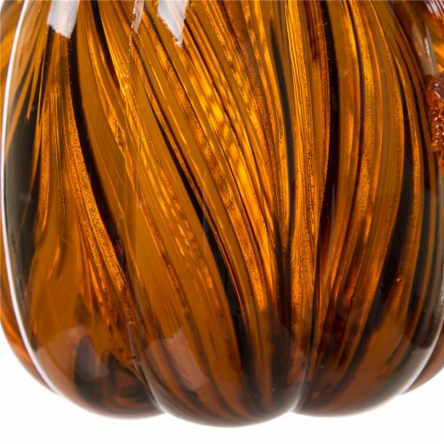Glitzhome Handmade Striped Glass Pumpkin Perspective: bottom