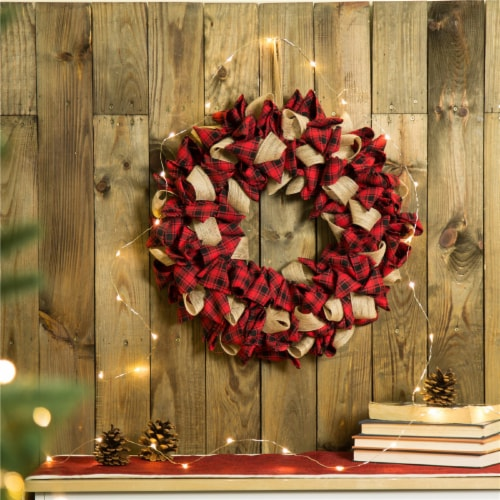 Glitzhome Plaid Fabric Wreath Decor - Red Perspective: bottom