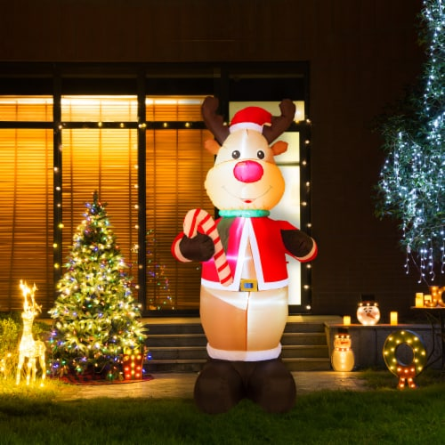 Glitzhome Lighted Inflatable Reindeer Holiday Decor Perspective: bottom