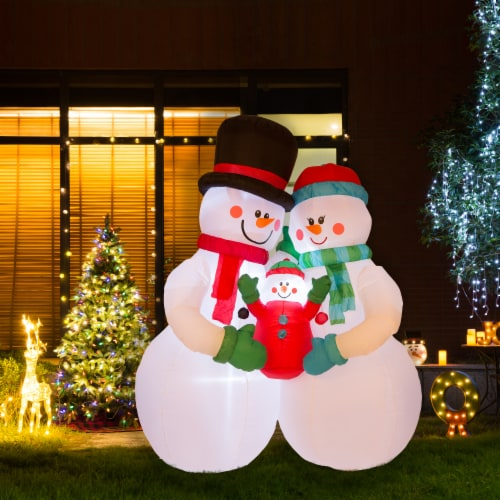 Glitzhome Lighted Inflatable Snowman Family Christmas Decor Perspective: bottom