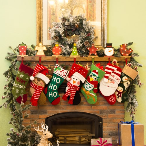 Glitzhome Wood and Metal Christmas Tree Stocking Holder with LED Lights Perspective: bottom