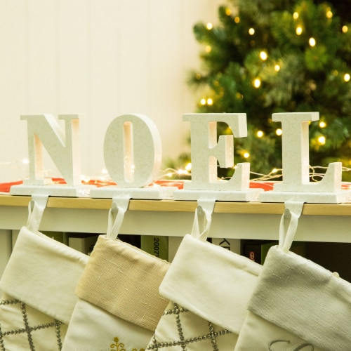 Glitzhome Wood and Metal Noel Christmas Stocking Holder Set Perspective: bottom