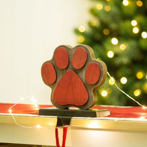 Glitzhome Handcrafted Paw Christmas Stocking Holder - Red Perspective: bottom