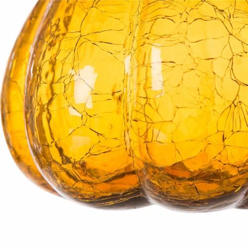 Glitzhome Handmade Glass Pumpkin - Amber Crackle Perspective: bottom