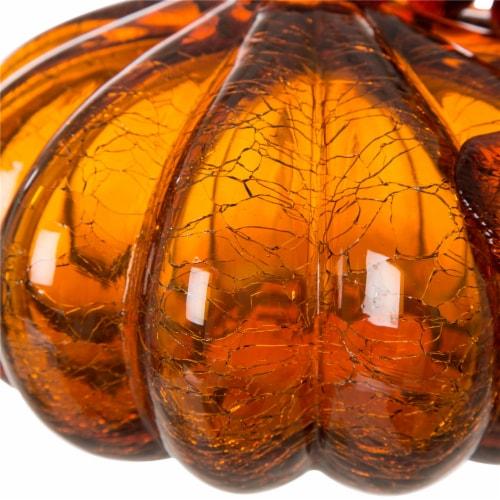 Glitzhome Crackle Glass Pumpkin Decor - Amber Perspective: bottom