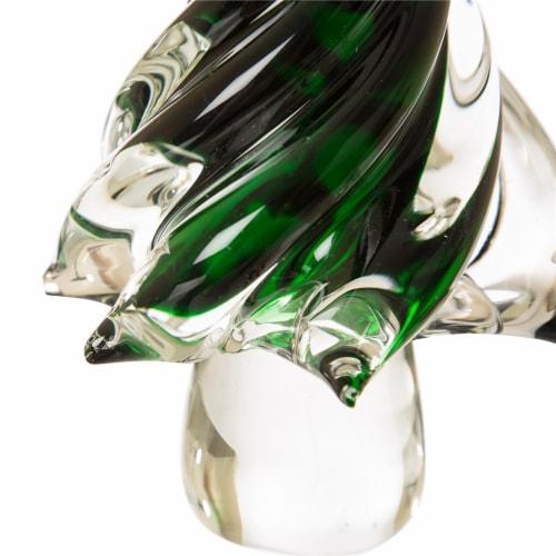 Glitzhome Medium Glass Christmas tree Decor - Green Perspective: bottom