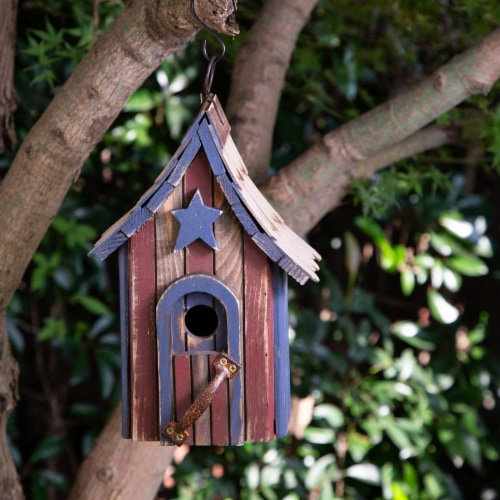 Glitzhome Hanging Distressed Solid Wood Birdhouse Perspective: bottom