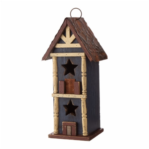 Glitzhome Solid Wood & Metal Rustic Style Birdhouse Perspective: bottom