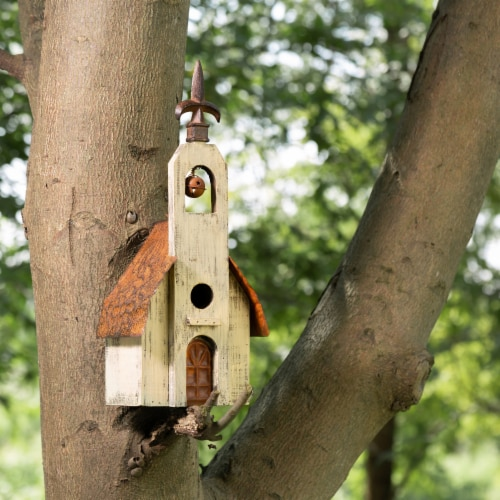 Glitzhome Hanging Distressed Wooden Decorative Rustic Birdhouse Perspective: bottom