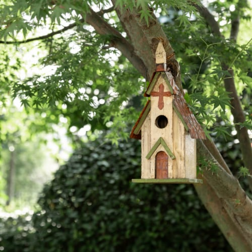 Glitzhome Distressed Solid Wood & Metal Church Birdhouse Perspective: bottom