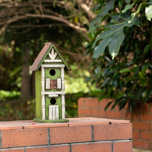 Glitzhome Hanging Two-Tiered Distressed Solid Wood Birdhouse Perspective: bottom