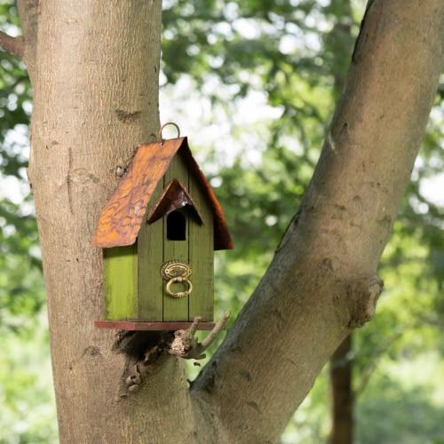 Glitzhome Rustic Garden Bird House Perspective: bottom