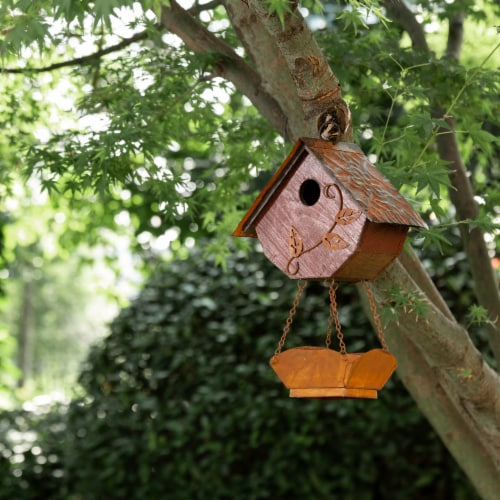 Glitzhome Hanging Distressed Solid Wood Birdhouse with Bird Bath Perspective: bottom