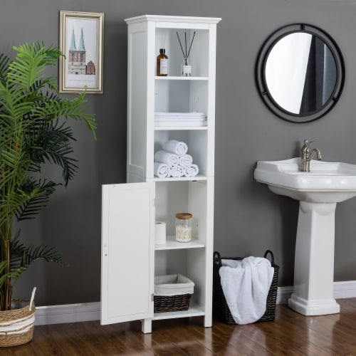 Glitzhome Wooden Storage Cabinet - White Perspective: bottom