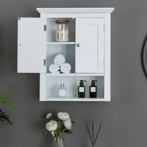 Glitzhome Wooden Wall Cabinet with Double Doors - White Perspective: bottom