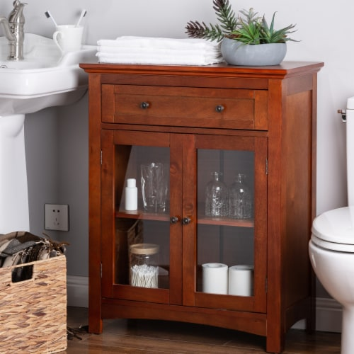 Glitzhome Shelved Floor Cabinet with Double Doors - Russet Perspective: bottom