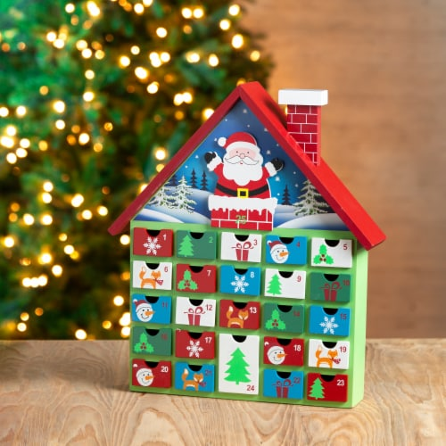 Glitzhome Wooden House Advent Calendar with Drawers Perspective: bottom
