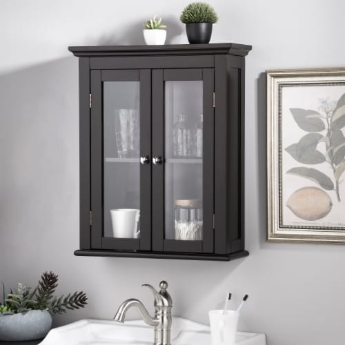 Glitzhome Wooden Wall Cabinet with Double Doors - Espresso Perspective: bottom