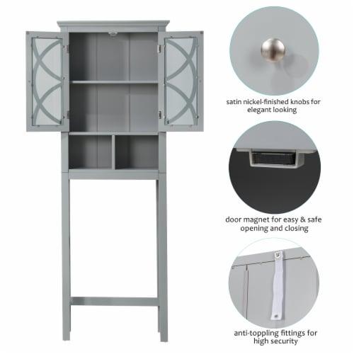 Glitzhome Wooden Drop Door Bathroom Cabinet - Gray Perspective: bottom