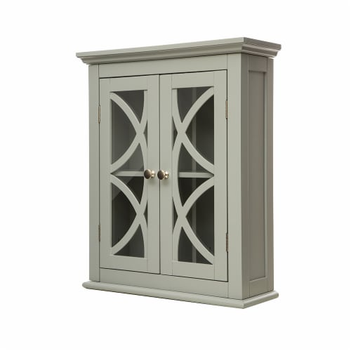 Glitzhome Wooden Wall Cabinet with Double Doors - Gray Perspective: bottom