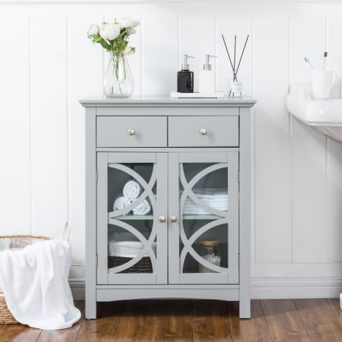 Glitzhome Floor Cabinet with Double Doors and Drawer - Gray Perspective: bottom