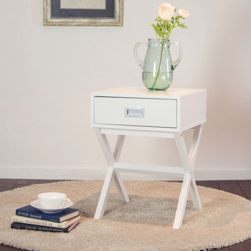 Glitzhome Modern Wooden X-Leg End Table - White Perspective: bottom