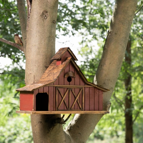 Glitzhome Extra-Large Rustic Wood Barn Birdhouse Perspective: bottom