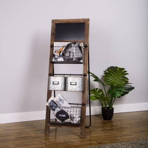 Glitzhome Farmhouse Metal/Wooden Magazine Rack Perspective: bottom
