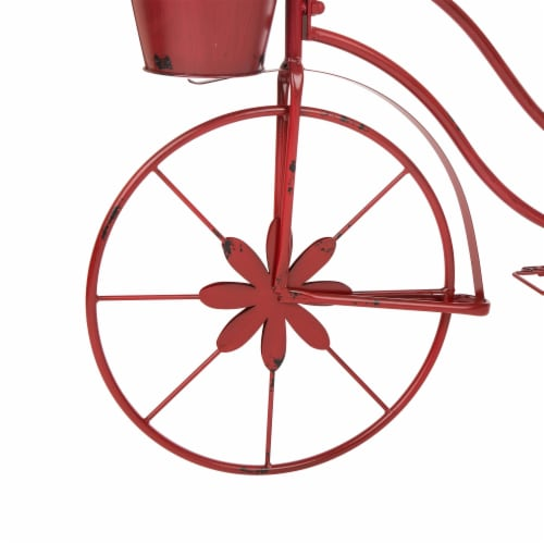 Glitzhome Metal Red Bicycle Shape Planter Perspective: bottom