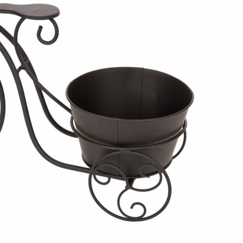Glitzhome Metal Bicycle Shape Planter - Black Perspective: bottom