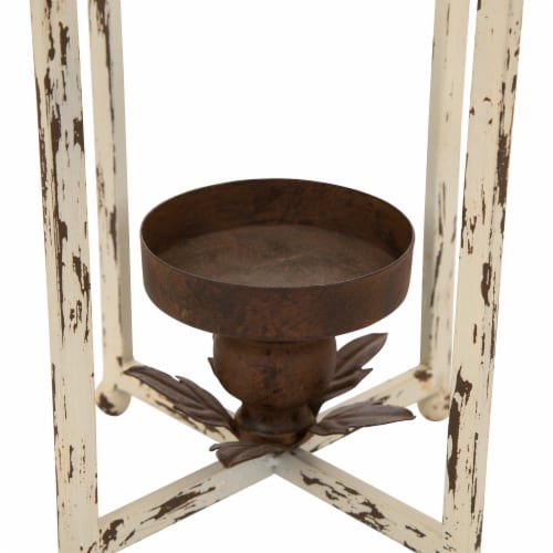 Glitzhome Small Farmhouse Metal Lantern - White Perspective: bottom