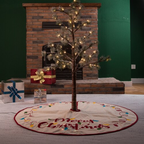 Glitzhome LED Embroidered Merry Christmas Tree Skirt - Light Brown Perspective: bottom