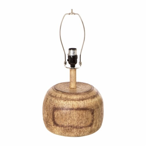 Glitzhome Rustic Farmhouse Polyresin Table Lamp with White Shade Perspective: bottom