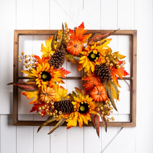Glitzhome Wooden Window Frame with Sunflower Wreath Perspective: bottom