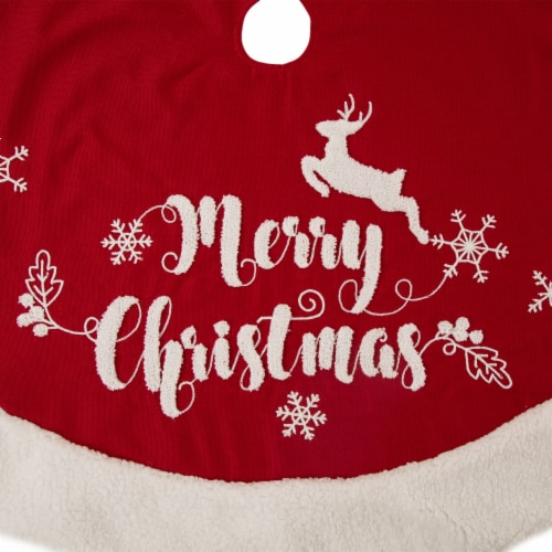 Glitzhome Fabric Merry Christmas Tree Skirt - Red/White Perspective: bottom