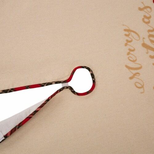 Glitzhome Poinsettia Fabric Christmas Tree Skirt Perspective: bottom