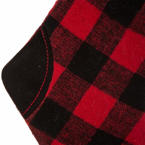 Glitzhome Buffalo Plaid Christmas Stocking - Black/Red Perspective: bottom