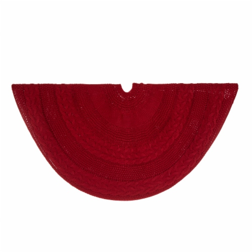 Glitzhome Knitted Acrylic Red Holiday Christmas Tree Skirt - Red Perspective: bottom