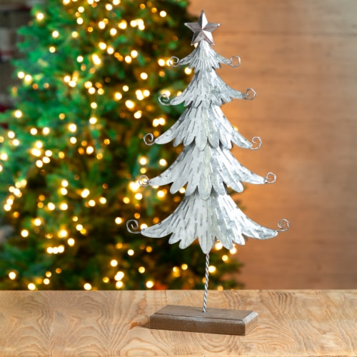 Glitzhome Wood and Galvanized Metal Christmas Tree Decor - Silver Perspective: bottom