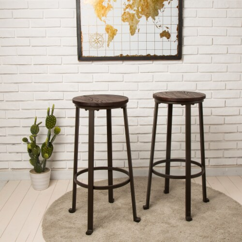 Glitzhome Rustic Steel and Elm Wood Bar Stool - Coffee Perspective: bottom