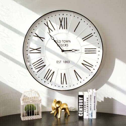 Glitzhome Oversized Farmhouse Metal Enamel Wall Clock - White Perspective: bottom