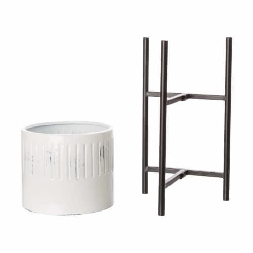Glitzhome Washed White Metal Round Plant Stands Perspective: bottom