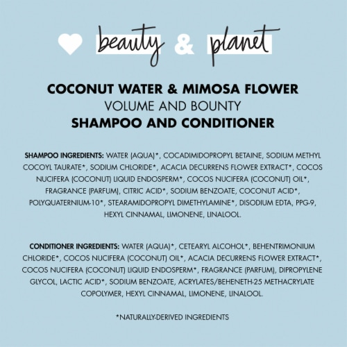 Love Beauty & Planet Sulfate-Free Coconut Water & Mimosa Flower Shampoo & Conditioner for Fine Hair Perspective: bottom