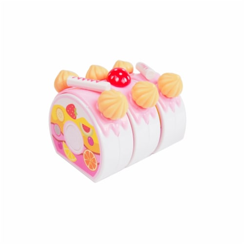 Birthday Cake Play Food Set Pink 75 Pieces Plastic Kitchen Cutting Toy Pretend Play Perspective: bottom