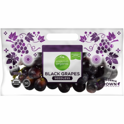 Organic - Grapes - Black - Seedless - Sold By The Bag - Estimated Bag Weight 2 Pounds Perspective: front